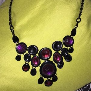 Amethyst colored gothic necklace with black chain